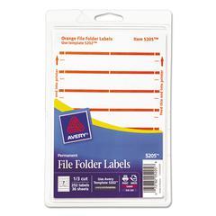 Avery Print or Write File Folder Labels, 11/16 x 3 7/16, White/Orange Bar, 252/Pack
