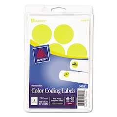 "Printable Removable Color-Coding Labels, 1 1/4"" dia, Neon Yellow, 400/Pack"