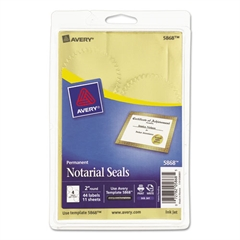 "Avery Printable Gold Foil Seals, 2"" dia, 44/Pack"