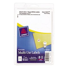 "Removable Multi-Use Labels, 1"" dia, White, 600/Pack"