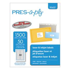 PRES-a-ply Laser File Folder Labels, 2/3 x 3 7/16, White, 1500/Box