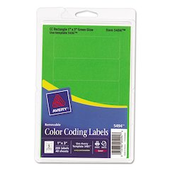 Avery Printable Removable Color-Coding Labels, 1 x 3, Neon Green, 200/Pack