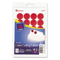 "Printable Removable Color-Coding Labels, 3/4"" dia, Red, 1008/Pack"