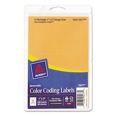Printable Removable Color-Coding Labels, 1 x 3, Neon Orange, 200/Pack