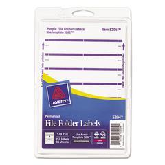 Avery Print or Write File Folder Labels, 11/16 x 3 7/16, White/Purple Bar, 252/Pack