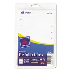 Avery Print or Write File Folder Labels, 11/16 x 3 7/16, White, 252/Pack