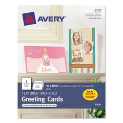 Textured Half-Fold Greeting Cards, Inkjet, 5 1/2 x 8 1/2, Wht, 30/Bx w/Envelopes