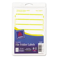 Avery Print or Write File Folder Labels, 11/16 x 3 7/16, White/Yellow Bar, 252/Pack