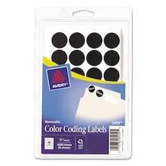"Avery Handwrite Only Removable Round Color-Coding Labels, 3/4"" dia, Black, 1008/Pack"