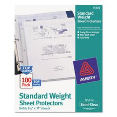 Avery Top-Load Sheet Protector, Standard, Letter, Semi-Clear, 100/Box