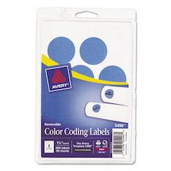"Printable Removable Color-Coding Labels, 1 1/4"" dia, Light Blue, 400/Pack"