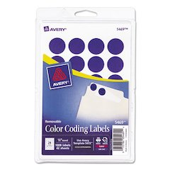 "Printable Removable Color-Coding Labels, 3/4"" dia, Dark Blue, 1008/Pack"