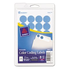 "Printable Removable Color-Coding Labels, 3/4"" dia, Light Blue, 1008/Pack"