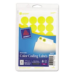 "Printable Removable Color-Coding Labels, 3/4"" dia, Neon Yellow, 1008/Pack"
