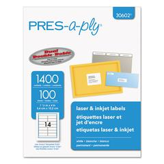 PRES-a-ply Laser Address Labels, 1 1/3 x 4, White, 1400/Box