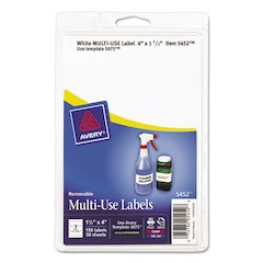 Removable Multi-Use Labels, 1 1/2 x 4, White, 150/Pack
