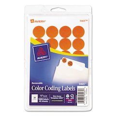 "Printable Removable Color-Coding Labels, 3/4"" dia, Orange, 1008/Pack"