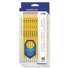 Staedtler Woodcase Pencil, Graphite Lead, Yellow Barrel, 48/Pack