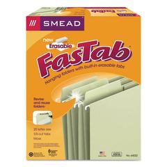 Erasable FasTab Hanging Folders, 1/3-Cut, Letter, 11 Point Stock, Moss, 20/Box