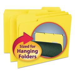 Smead Interior File Folders, 1/3 Cut Top Tab, Letter, Yellow, 100/Box