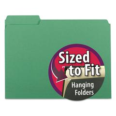 Interior File Folders, 1/3 Cut Top Tab, Letter, Green, 100/Box