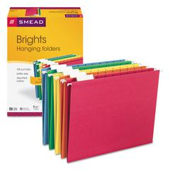 Hanging File Folders, 1/5 Tab, 11 Point Stock, Letter, Assorted Colors, 25/Box