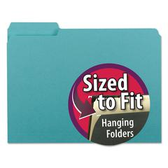 Smead Interior File Folders, 1/3 Cut Top Tab, Letter, Aqua, 100/Box