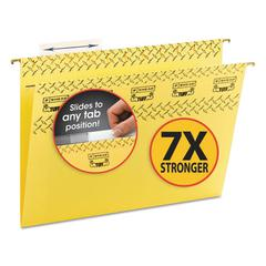 Smead Tuff Hanging Folder with Easy Slide Tab, Letter, Yellow, 18/Pack