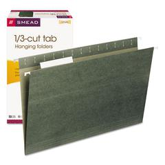 Hanging Folders, 1/3 Tab, 11 Point Stock, Legal, Green, 25/Box