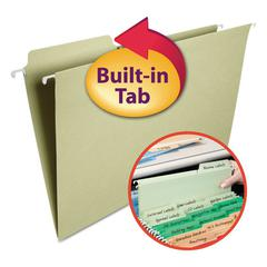 Smead FasTab Hanging File Folders, 1/3 Tab, Legal, Moss Green, 20/Box