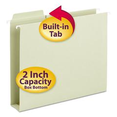 Box Bottom Hanging Folders, Built-In Tabs, Letter, Moss Green