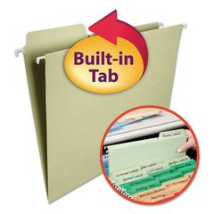 Smead FasTab Hanging File Folders, 1/3 Tab, Letter, Moss Green, 20/Box