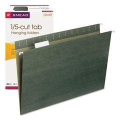 Smead Hanging File Folders, 1/5 Tab, 11 Point Stock, Legal, Green, 25/Box