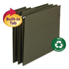 FasTab Recycled Hanging File Folders, Legal, Green, 20/Box
