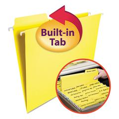 FasTab Hanging File Folders, Letter, Yellow, 20/Box