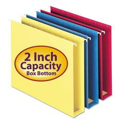 Smead Two Inch Capacity Box Bottom Hanging Folders, Letter, Assorted, 25/Box