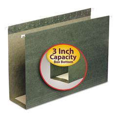 Three Inch Capacity Box Bottom Hanging File Folders, Legal, Green, 25/Box