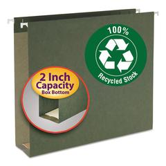 Two Inch Capacity Box Bottom Hanging File Folders, Letter, Green, 25/Box