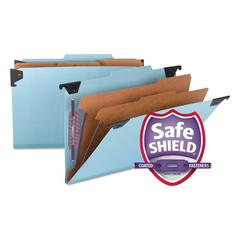 Six Section Hanging Classification Folder, Pressboard/Kraft, Legal, Blue