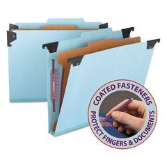 Four Section Hanging Classification Folder, Pressboard/Kraft, Letter, Blue