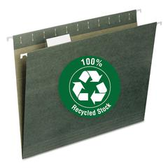 Smead Recycled Hanging File Folders, 1/5 Tab, 11 Point Stock, Letter, Green, 25/Box
