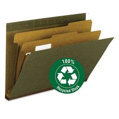 "Smead Hanging File Folder, 2 Dividers, Letter, 2"" Exp, 1/5 Tab, Standard Green, 10/BX"