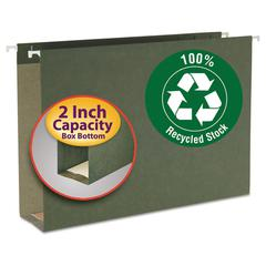 Two Inch Capacity Box Bottom Hanging File Folders, Legal, Std Green, 25/Box