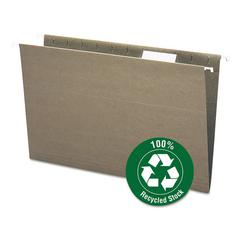 Recycled Hanging File Folders, 1/5 Tab, 11 Point Stock, Legal, Green, 25/Box