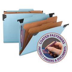 Six Section Hanging Classification Folder, Pressboard/Kraft, Letter, Blue