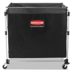 Rubbermaid Commercial Collapsible X-Cart, Steel, Eight Bushel Cart, 24 1/10w x 35 7/10d, Black/Silver