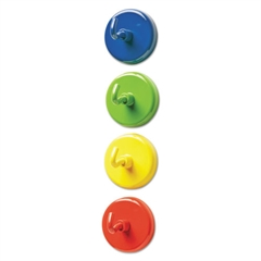 """Super Strong Magnetic Hooks, 1 1/2"""" Diameter, Blue, Green, Red, Yellow, 4/Pack"""