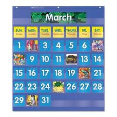 Scholastic Monthly Calendar Pocket Chart, 25 1/2 x 10 x 0.13, Blue/Clear