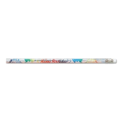 Decorated Wood Pencil, Happy Birthday From Your Teacher, HB#2, Silver, Dozen