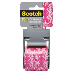 """Scotch Expressions Packaging Tape, 1.88"""" x 500"""", Pink/White Baroque Pattern"""